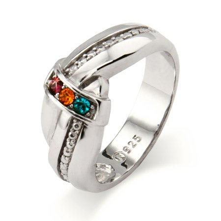 3 Birthstone Engravable Mother's Love Knot Ring in Sterling Silver | Eve's Addiction®