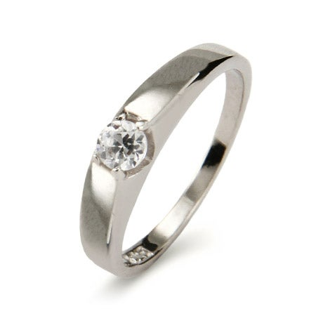 Petite Solitaire Brilliant Cut Sterling Silver Promise Ring | Eve's Addiction®