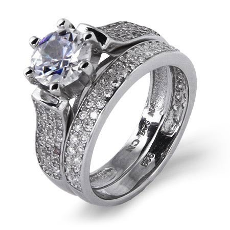 Brilliant Cut 1.25 Carat Pave CZ Engagement Set | Eve's Addiction®