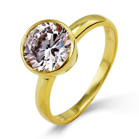 Designer Style Gold Vermeil Solitaire Bezel Set CZ Ring | Eve's Addiction®