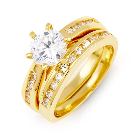 Brilliant Cut Channel Set Gold Vermeil CZ Engagement Set | Eve's Addiction®
