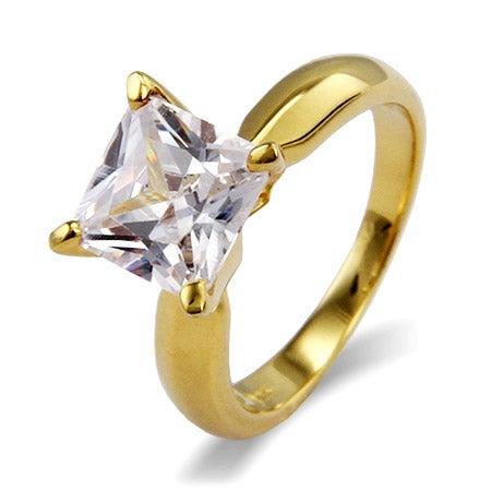 Princess Cut Solitaire CZ Gold Vermeil Engagement Ring | Eve's Addiction®