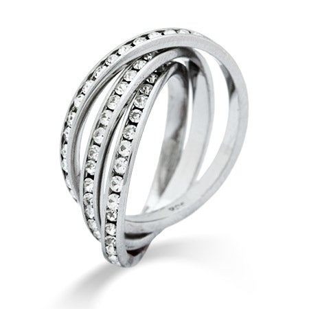 Triple Roll CZ Eternity Band Sterling Silver Ring | Eve's Addiction®