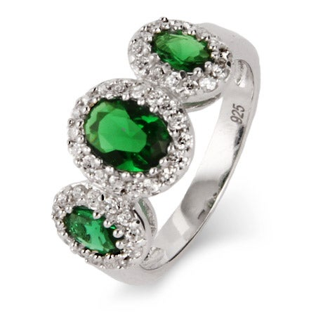 3 Stone Oval Cut Emerald Green CZ Ring | Eve's Addiction®