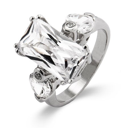 Emerald Cut Diamond CZ Right Hand Ring | Eve's Addiction®