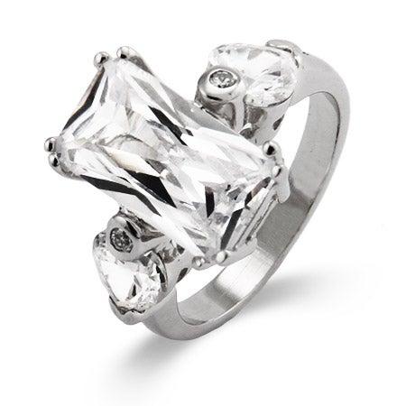Emerald Cut Diamond CZ Right Hand Ring | Eve's Addiction®