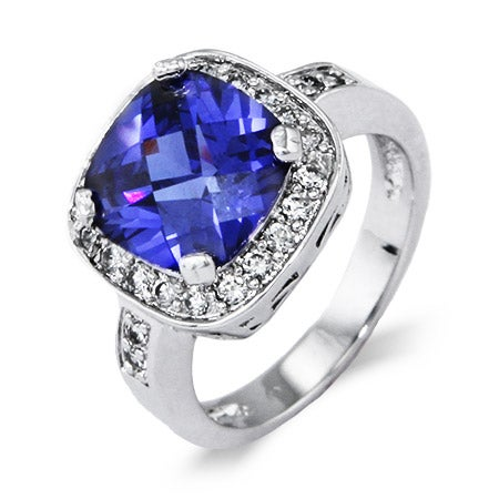 Stunning Cushion Cut Tanzanite CZ Cocktail Ring | Eve's Addiction®