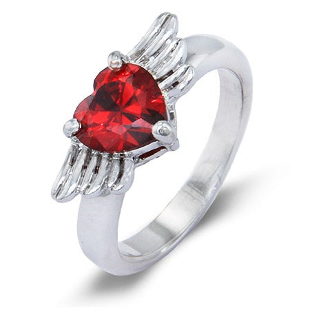 Winged Heart Sterling Silver Custom Birthstone Ring | Eve's Addiction®