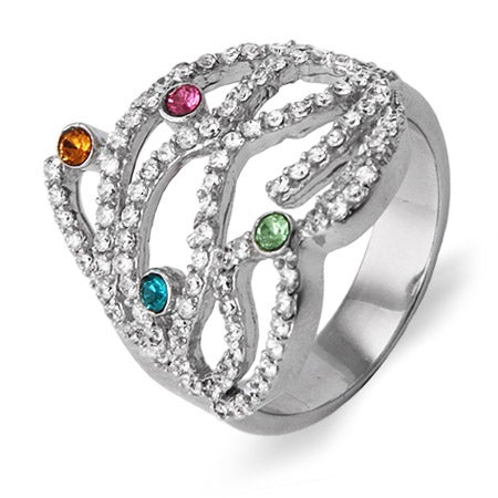 4 Stone Custom Austrian Crystal Birthstone CZ Strands Ring | Eve's Addiction®
