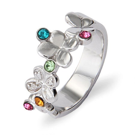 5 Custom Birthstone Fluttering Butterflies Silver Family Ring | Eve's Addiction®