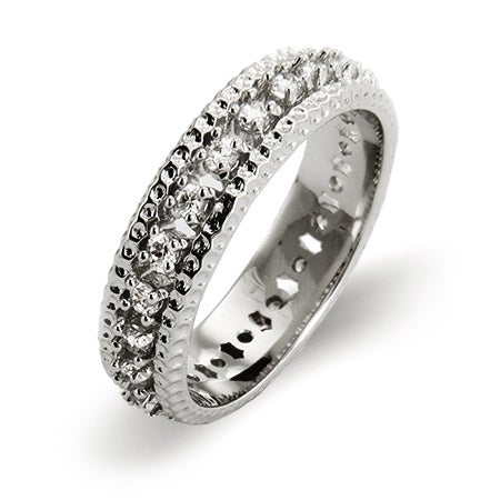 Triple Row Brilliant Cut CZ Eternity Band | Eve's Addiction®
