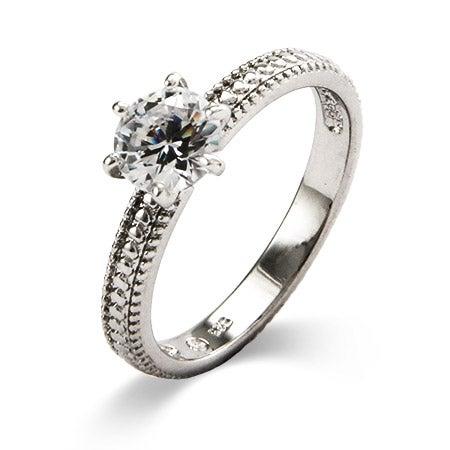 1 Carat Brilliant Cut CZ Engagement Ring | Eve's Addiction®