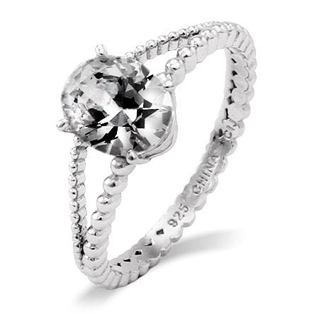 Celebrity Inspired Oval CZ Split Band Engagement Ring | Eve's Addiction®