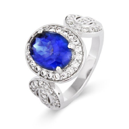 Vintage Design Oval Tanzanite CZ Ring | Eve's Addiction®