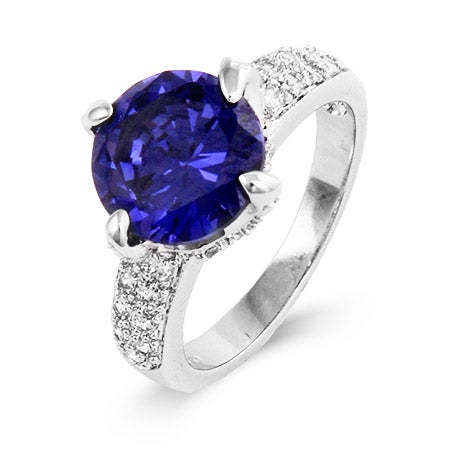 Claw Set Tanzanite CZ Ring in Sterling Silver | Eve's Addiction®