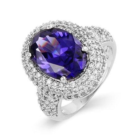 Exquisite Sterling Silver Pave Tanzanite Cocktail Ring | Eve's Addiction®