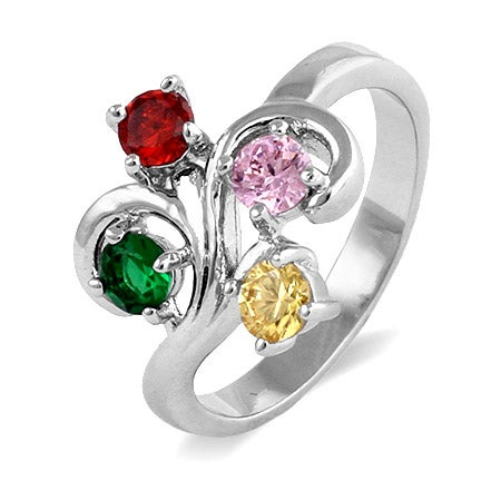 Close to the Heart 4 Stone Swirl Birthstone Ring | Eve's Addiction®