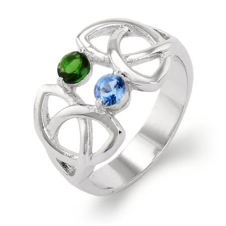 2 Stone Celtic Trinity Birthstone Ring | Eve's Addiction®