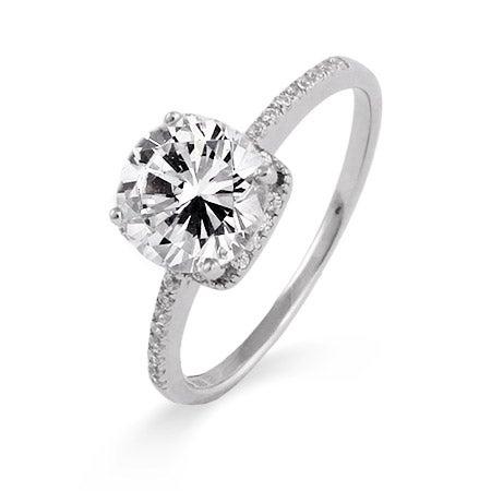 2 Carat Brilliant Cut CZ Engagement Ring | Eve's Addiction®