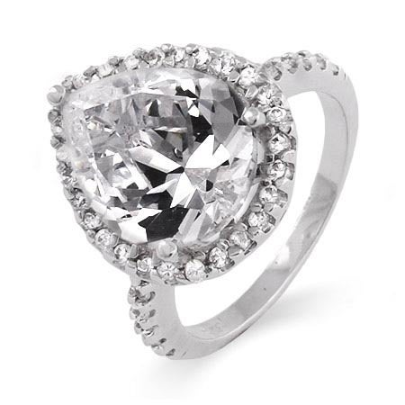4 Carat Pearcut CZ Silver Engagement Ring | Eve's Addiction®