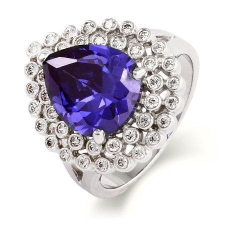 Exquisite Pearcut CZ Tanzanite Cocktail Ring | Eve's Addiction®