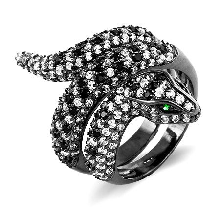 Pave CZ Encrusted Coiled Snake Cocktail Ring | Eve's Addiction®