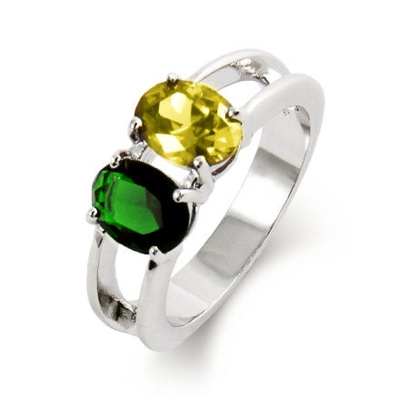 2 Stone Oval Cut Custom Birthstone Ring | Eve's Addiction®