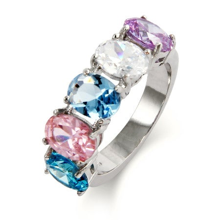 Close to the Heart 5 Stone Oval Cut Custom Birthstone Ring | Eve's Addiction®