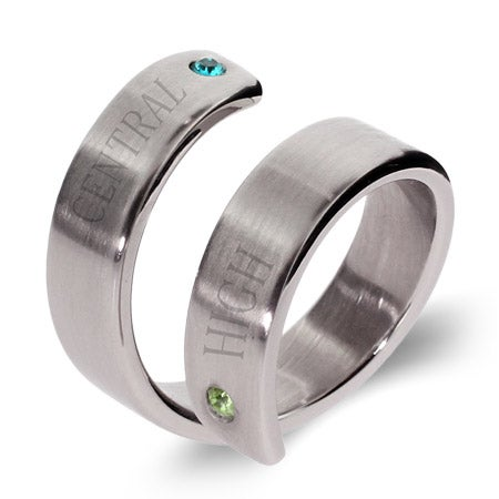 2 Stone Engravable Crossover Graduation Ring | Eve's Addiction®