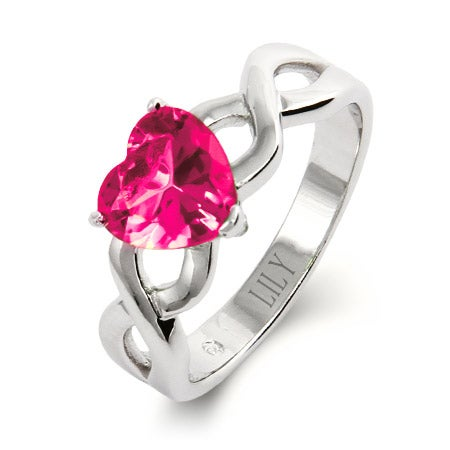 Sterling Silver Heart Class Ring with Infinity Band | Eve's Addiction®