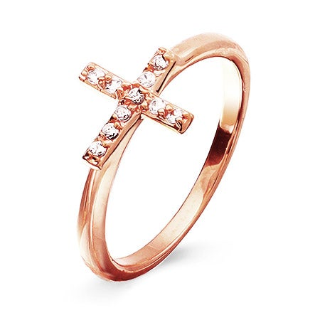 Rose Gold CZ Sideways Cross Ring | Eve's Addiction®
