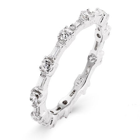 Baguette and Brillant Cut CZ Stackable Ring | Eve's Addiction®