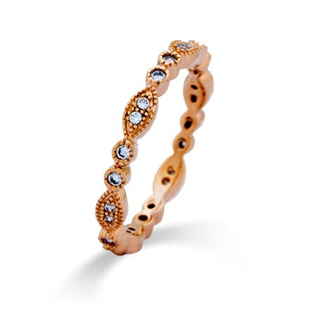 Designer Style Rose Gold Sway CZ Eternity Band | Eve's Addiction®