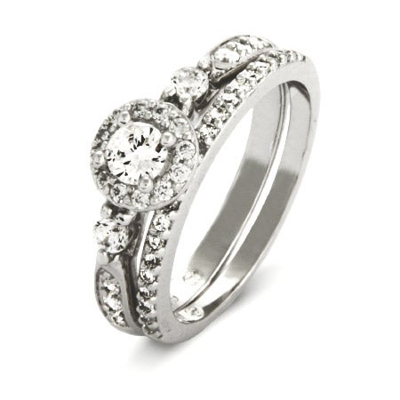 Petite Brillant Cut CZ Engagement Ring Set in Sterling Silver | Eve's Addiction®