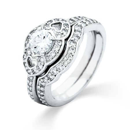 Vintage Design Brilliant Cut CZ Engagement Ring Set | Eve's Addiction®