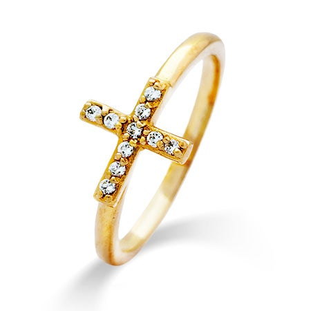 Sideways Cross Gold CZ Stackable Reflections Ring | Eve's Addiction®