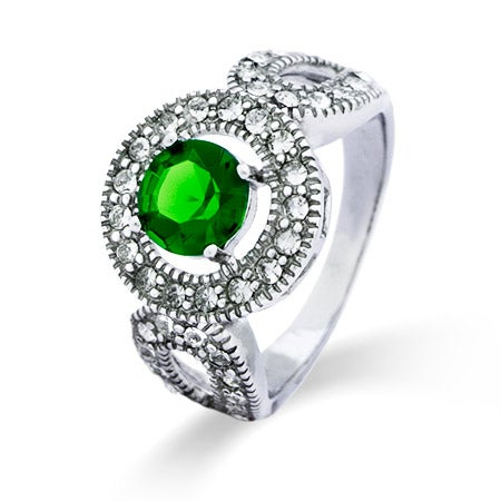 Vintage Design Emerald Green CZ Sterling Ring | Eve's Addiction®