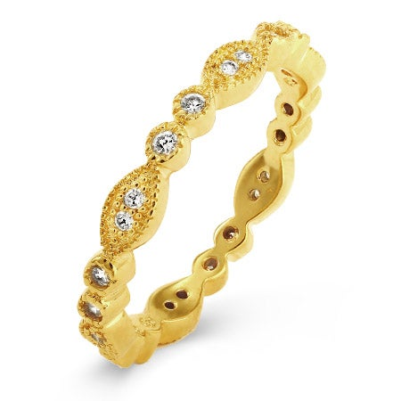 Designer Style Gold CZ Sway Eternity Band | Eve's Addiction®