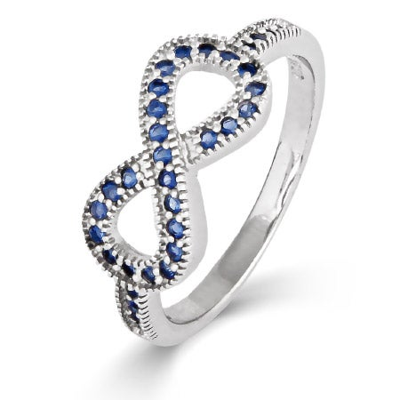 Sapphire CZ Infinity Ring  with Milgrain Edging | Eve's Addiction®
