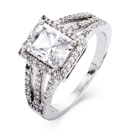 emerald cut cz split band engagement ring in sterling