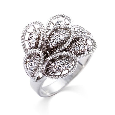 Sterling Silver Pave CZ Wing Cocktail Ring | Eve's Addiction®