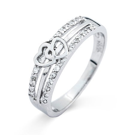 Joined Hearts Cubic Zirconia Promise Ring | Eve's Addiction®