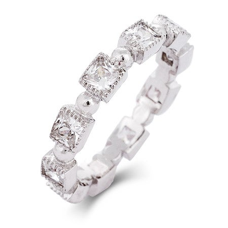 Princess Cut CZ Milgrain Edged Stackable Eternity Band | Eve's Addiction®