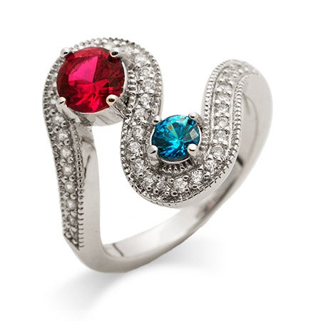2 Stone Swirl Design Custom Birthstone Ring | Eve's Addiction®
