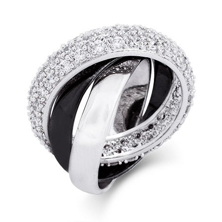 Black and Silver Triple Roll CZ Russian Wedding Ring | Eve's Addiction®