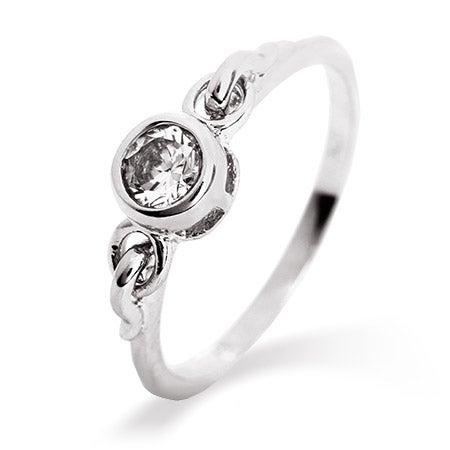 Ornate Petite Bezel Set CZ Promise Ring | Eve's Addiction®