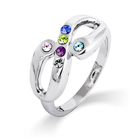 6 Stone Infinity Family Birthstone Ring in Sterling Silver | Eve's Addiction®