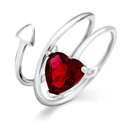 Devilish Heart Ruby CZ Sterling Silver Ring | Eve's Addiction®