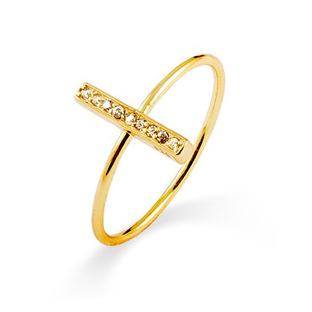 Gold Vermeil CZ Bar Ring | Eve's Addiction®