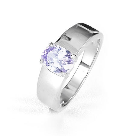 Engravable Oval Birthstone Sterling Ring